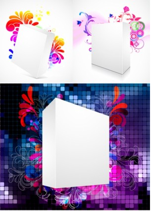 Threedimensional box flower background 2 vectors