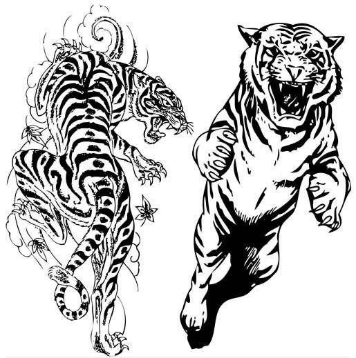 Tigers Tatoo vector material