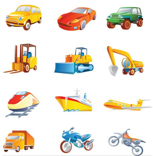 Transport Cute Icons shiny vector