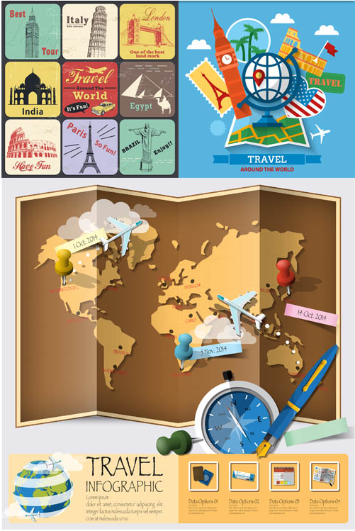 Travel Backgrounds free set vector