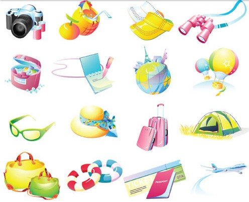 Travel Objects free set vector