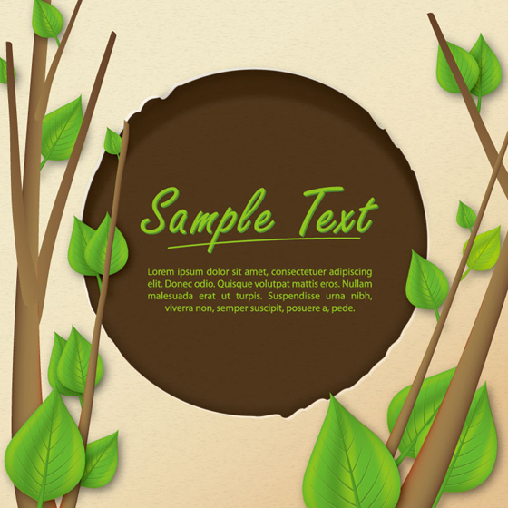 Tree branches and Green leaves background vectors material