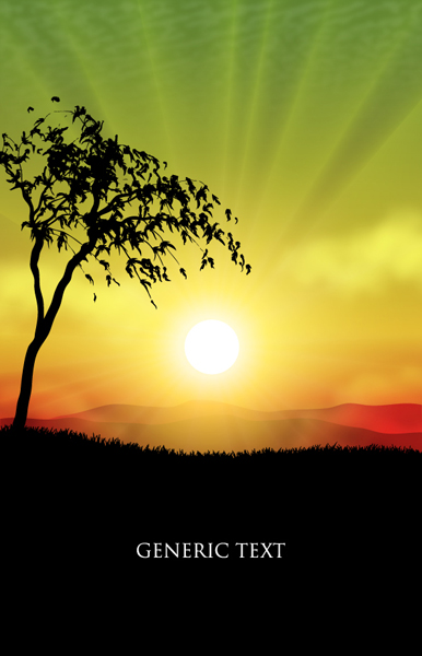 Tree with Natural scenery 1 Eps Format vector