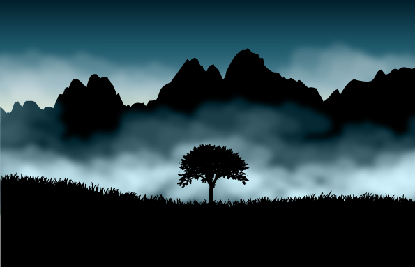 Tree with Natural scenery 2 Eps Format vector