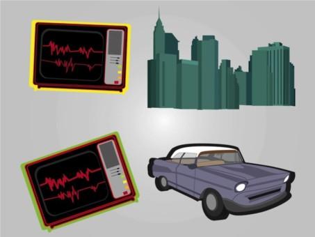 Urban Retro Graphics vectors material