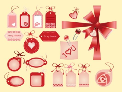 Valentine Love Tags vector material