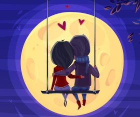 Valentine background with lovers design vector 01