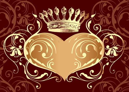 Valentine crown background 4 vector