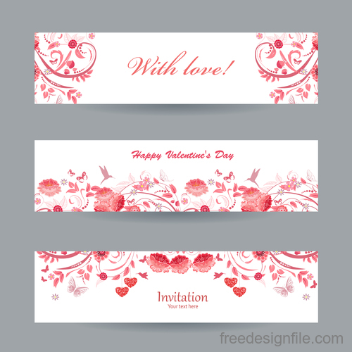 Valentine day banners with flower vectors