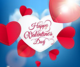 Valentine day card with red paper heart vectors
