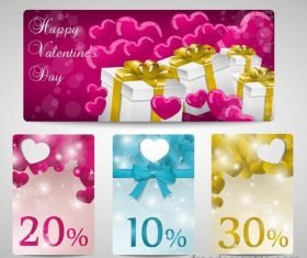 Valentine day discount card template vector design