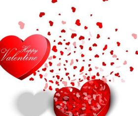Valentine day gift boxs with heart shaped petals vector