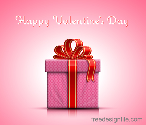 Valentine day gift with pink background vector