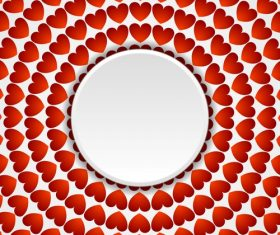Valentine red heart round pattern vector
