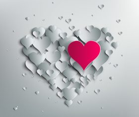 Valentine white background with paper heart vectors material 01