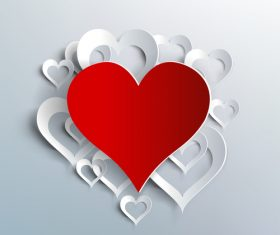 Valentine white background with paper heart vectors material 02
