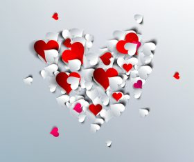 Valentine white background with paper heart vectors material 03