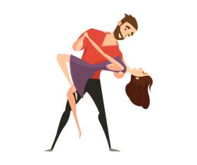 Valentines Day dancing lovers vector