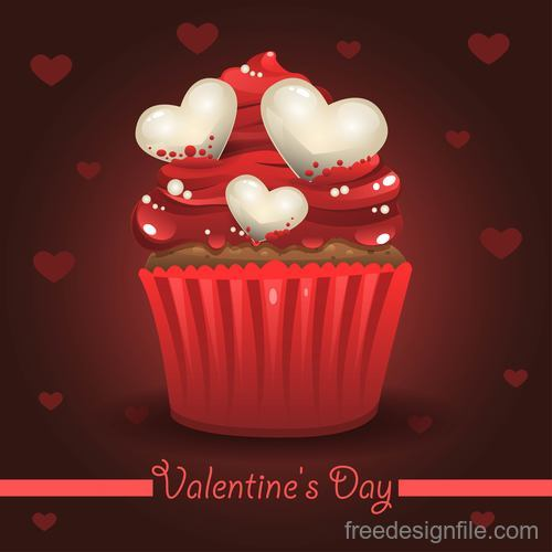 Valentines cake with red background vector