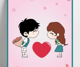 Valentines day cartoon boy girl vector