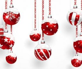 Vector christmas balls with baubles material 04