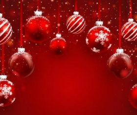 Vector christmas balls with red backgrounds vector 01