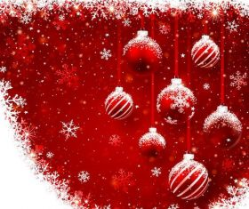Vector christmas balls with red backgrounds vector 02