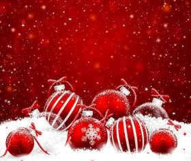 Vector christmas balls with red backgrounds vector 03