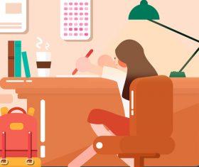 Vector illustration write homework