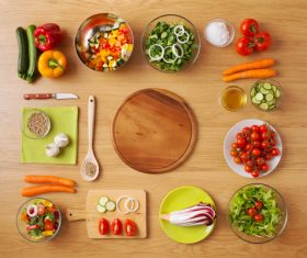 Vegetables on wooden workbench Stock Photo 01