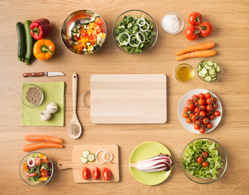Vegetables on wooden workbench Stock Photo 05