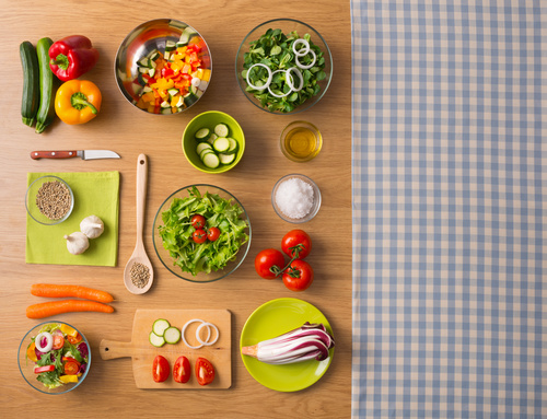 Vegetables on wooden workbench Stock Photo 06