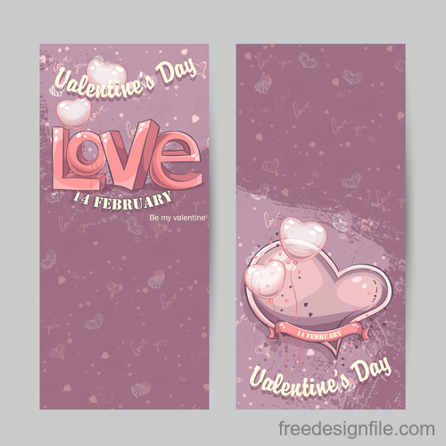 Vertical cards for Valentines day vector