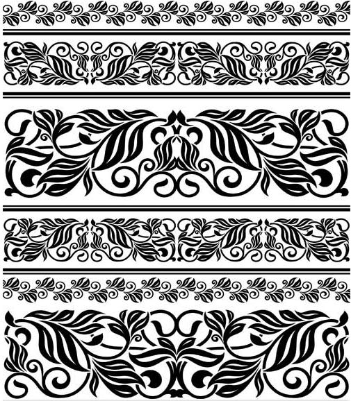 Vintage Floral Borders 5 vectors graphic