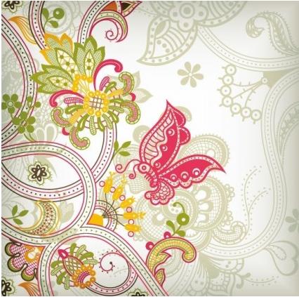 Vintage Flower Background Design Vectors