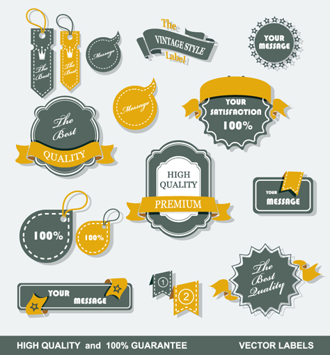 Vintage Message tags and labels vector