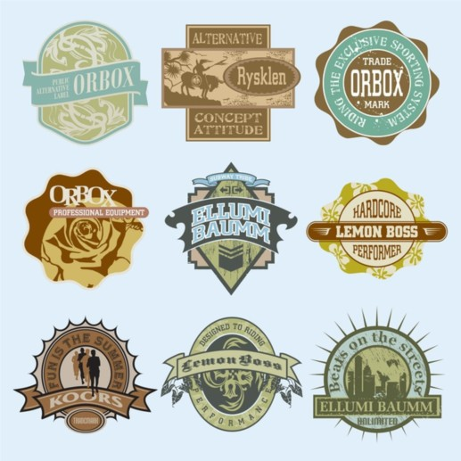 Vintage T Shirt Labels design vectors