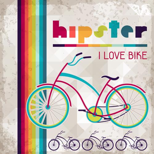 Vintage bike background set vector