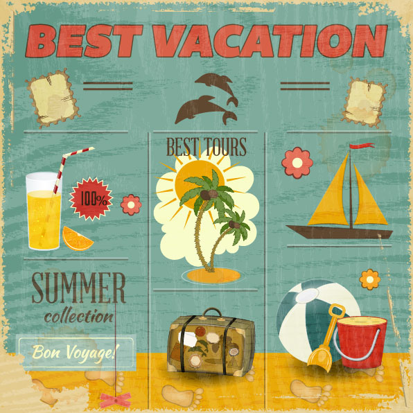 Vintage vacation poster vector set