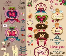 Vintage valentine day labels with sticker and ribbon vector