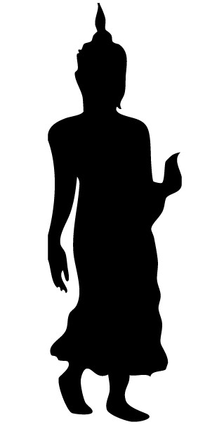 Walking BuddhSilhouette Vector Image vector