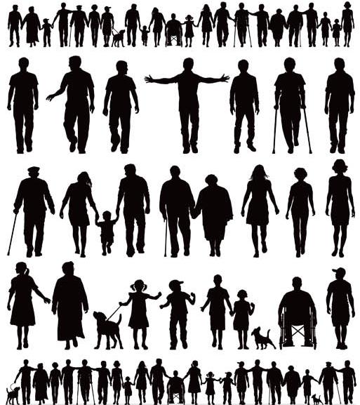 Walking People Mix creative vector