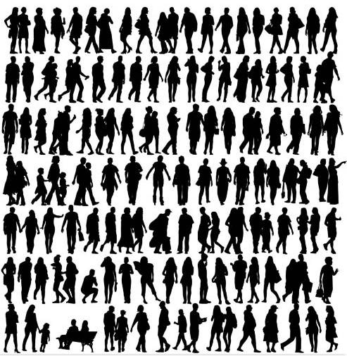 Walking People Set vector