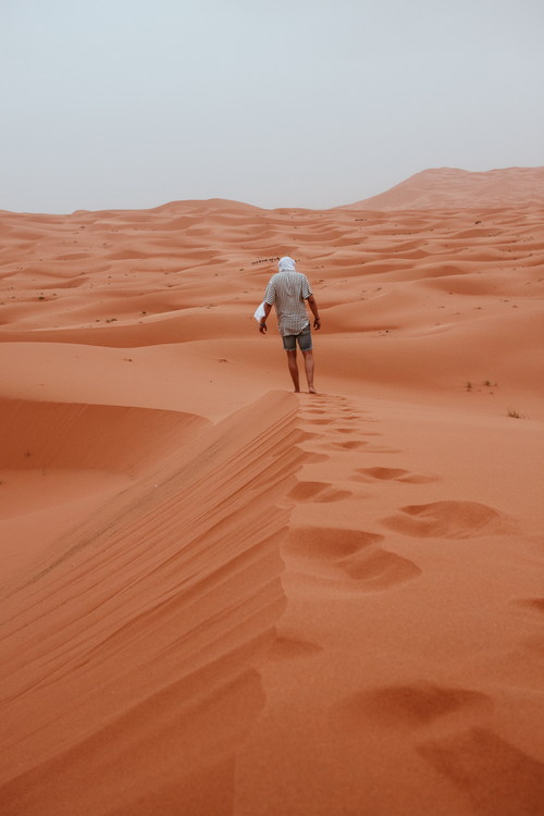 Walking alone in the desert Stock Photo
