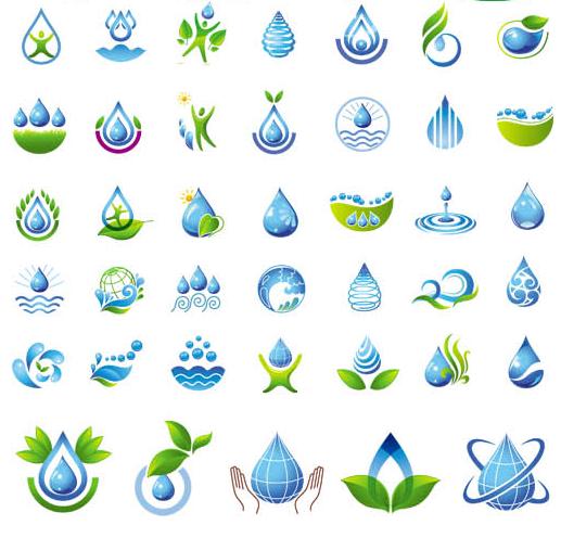 Water Drops Logotypes set vector