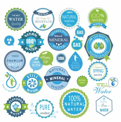 Water badges and stickers set vector graphics