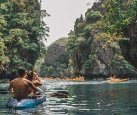 Water kayak rafting Stock Photo