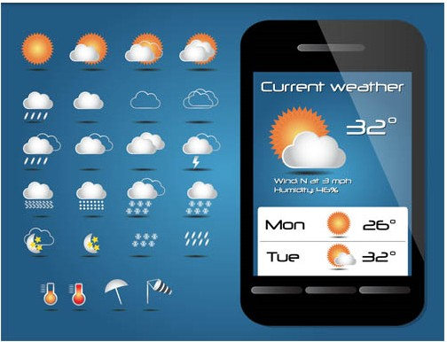 Weather Shiny Icons vectors