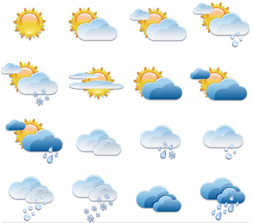 Weather Shiny Icons Mix design vector