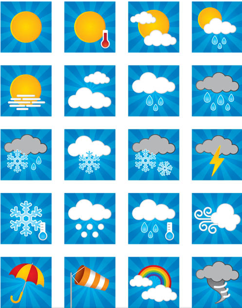 Weather Shiny Symbols Set vector